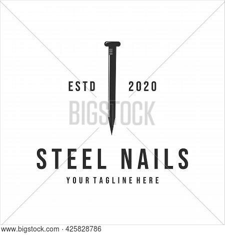 Steel Nails Logo Vintage Vector Illustration Template Design . Nails Logo For Mining Or Carpentry Eq