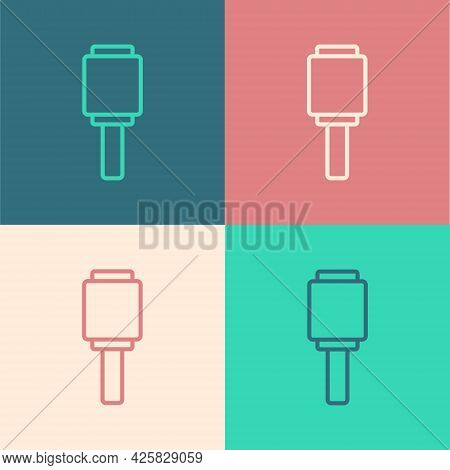 Pop Art Line Rkg 3 Anti-tank Hand Grenade Icon Isolated On Color Background. Vector