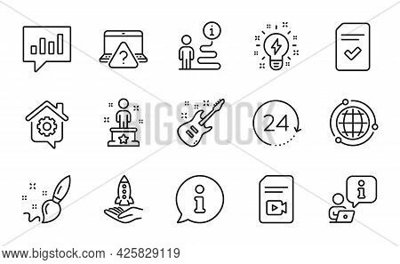 Education Icons Set. Included Icon As Video File, Globe, Electric Guitar Signs. Online Question, Cro