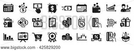 Set Of Finance Icons, Such As Candlestick Graph, Contactless Payment, Special Offer Icons. Presentat