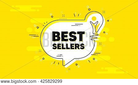 Best Sellers Text. Idea Yellow Chat Bubble Banner. Special Offer Price Sign. Advertising Discounts S
