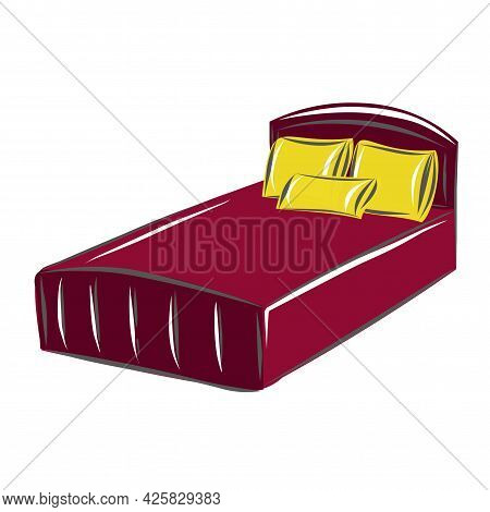 Large Soft Bed With Three Pillows. Interior. Interior Design. Furniture Set. Isolated Vector Objects