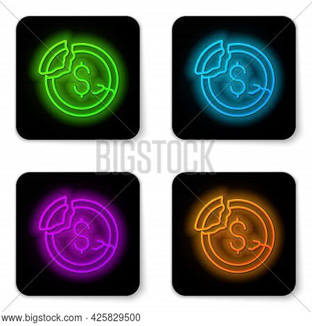 Glowing Neon Line Dollar Rate Decrease Icon Isolated On White Background. Cost Reduction. Money Symb