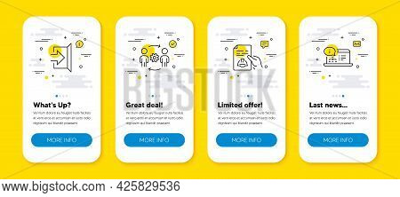 Vector Set Of Engineering Team, Technical Documentation And Exit Line Icons Set. Ui Phone App Screen