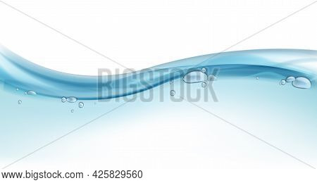 Blue Ocean Wave. Water Surface, Blue Liquid Motion, Splashes And Water Bubbles In Swimming Pool, Sea