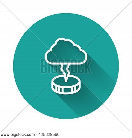 White Line Storm Icon Isolated With Long Shadow Background. Cloud And Lightning Sign. Weather Icon O