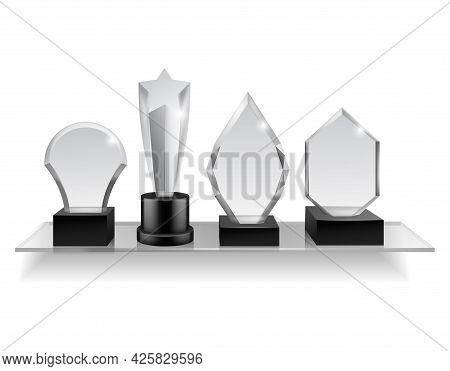 Glass Champion Prizes On Shelf. Realistic Different Award On Shelving, Winner Trophy Shiny Acrylic A