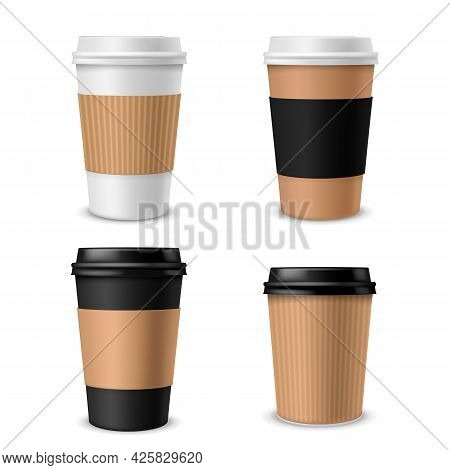 Cups Coffee Paper. Realistic Takeaway Cup With Plastic Cap, Blank Brown White And Black Container Wi