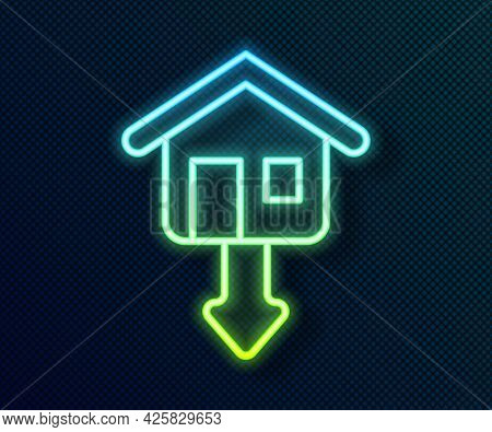 Glowing Neon Line Property And Housing Market Collapse Icon Isolated On Black Background. Falling Pr