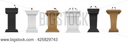 Realistic Tribune. Different Color And Materials Podium With Microphones. Black White And Wooden Lec