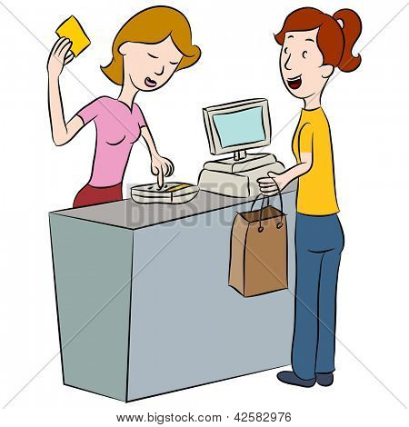 An image of a woman entering her PIN number at a store counter.