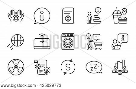 Line Icons Set. Included Icon As Teamwork Chart, Buyer Think, Favorite Signs. Sleep, Laundry, Fast F