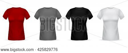 Women T-shirts Realistic. Isolated 3d Female Clothes Templates, White And Black, Red And Gray Basic
