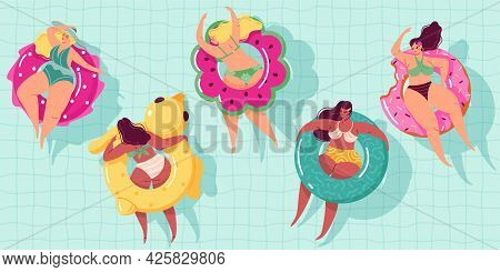 Women Swim Ring. Happy Body Positive Girls Floating In Pool On Inflatable Circles, Summer Vacations