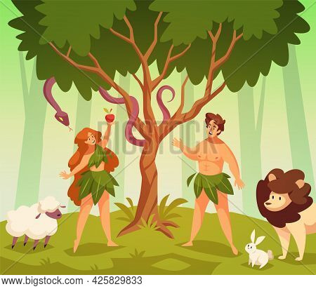 Adam And Eve. Bible Story Scene First Man And Woman In Garden Eden, Knowledge Good And Evil, Snake O