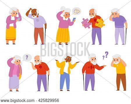 Dementia People. Old Men And Women Suffering Memory Loss, Age-related Changes Brain Activity, Senior