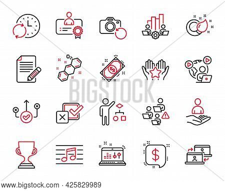 Vector Set Of Education Icons Related To Sound Check, Musical Note And Recovery Photo Icons. Certifi