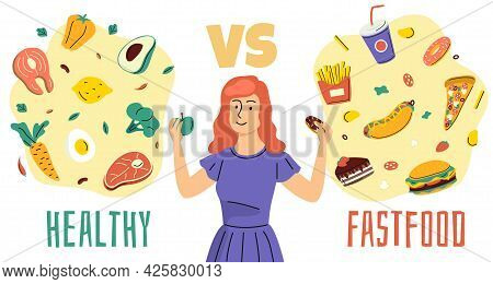 Healthy Unhealthy Food. Girl Chooses Between Proper Nutrition And Fast Food, Diet Plan, Woman Makes