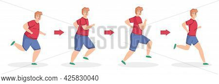Weight Loss Stages. Running Man, Healthy Sport Lifestyle, Diet And Physical Activity, Cardio Trainin