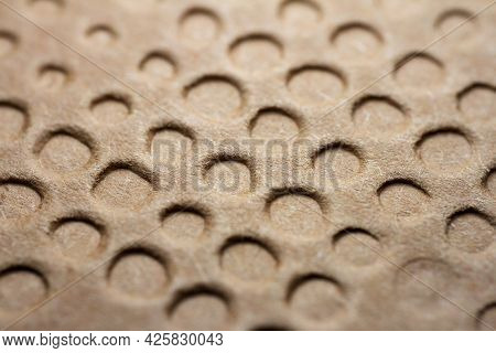 Extreme Macro Of Embossed Brown Paper. Selective Focus, Shallow Depth Of Field.