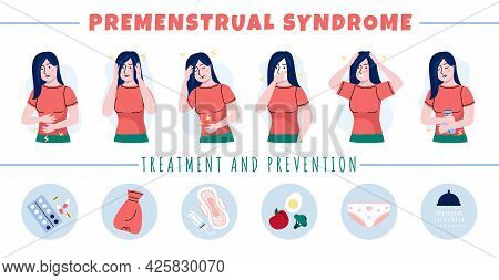 Pms Symptoms. Premenstrual Syndrome. Women Moods And Emotions During Menstruation, Personal Hygiene