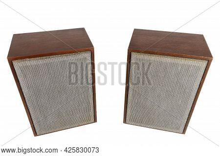 Two Vintage Speakers With Fabric Grills Isolated On White Background.