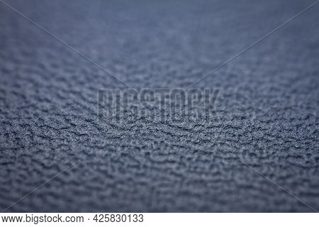 Extreme Closeup Of A Leather, Shallow Deph Of Field. Macro For Blue Leather. Selective Focus.