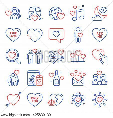Love Icons Set. Included Icon As Man Love, Dating Network, Couple Love Signs. Hold Heart, Ask Me, On