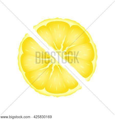 Yellow Lemon Slices Vector Design. Fresh Yellow Sliced Fruit