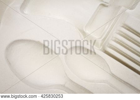 Close Up Of White Empty Paper Cutlery Box