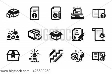 Vector Set Of Documentation, Algorithm And Lighthouse Icons Simple Set. Package Box, Engineering Tea