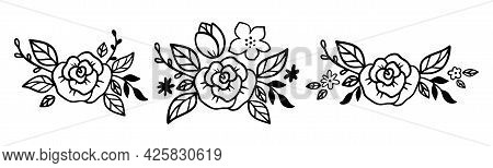 Doodle Flower Diadem Set With Rose And Leaves. Floral Crown Collection In Line Art Style. Bouquet Fo