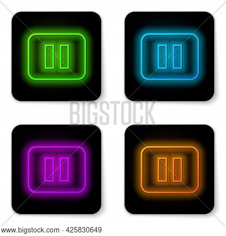 Glowing Neon Line Pause Button Icon Isolated On White Background. Black Square Button. Vector