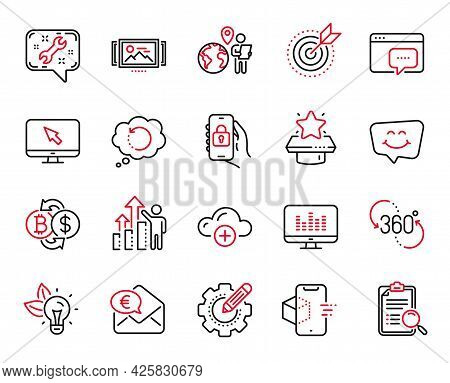 Vector Set Of Technology Icons Related To Eco Energy, Winner Podium And Target Purpose Icons. 360 De