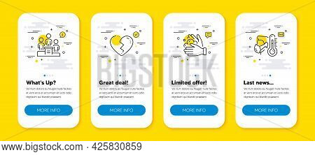 Vector Set Of Broken Heart, Wash Hands And Business Podium Line Icons Set. Ui Phone App Screens With