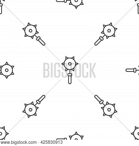 Grey Line Medieval Chained Mace Ball Icon Isolated Seamless Pattern On White Background. Medieval We
