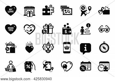 Vector Set Of Holidays Icons Related To Travel Compass, Gift Shop And Puzzle Time Icons. Heart, Open