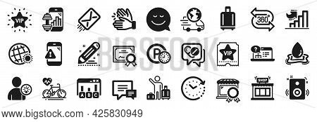 Set Of Business Icons, Such As Baggage Reclaim, Water Splash, Parking Time Icons. Online Help, Certi