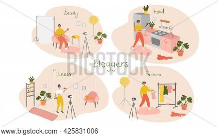 Set Of Bloggers And Vloggers Characters Making Internet Content. Beauty, Food, Fitness, Fashion Blog