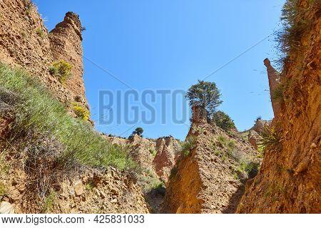 Badlands Chimney. Eroded Landscape. Las Carcavas, Guadalajara. Spain