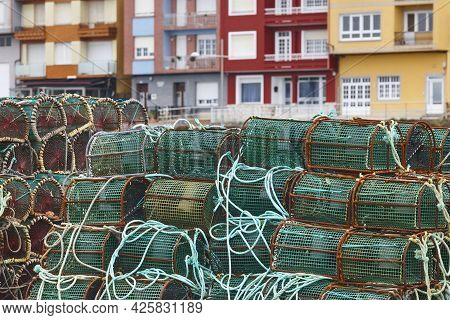Lobster Pots In The Fishing Port. Costa Da Morte. Spain