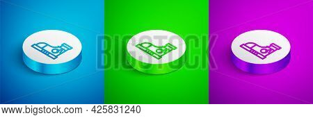 Isometric Line Fitness Sneakers Shoes For Training, Running Icon Isolated On Blue, Green And Purple