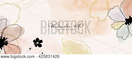 Abstract Art Watercolor Flower Botanical And Gold Line For Nature Banner Background. Watercolor Hand