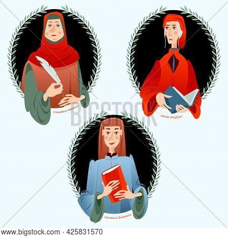 Giovanni Boccaccio, Dante Alighieri, Francesco Petrarca. Famous Italian Writers. Vector Illustration