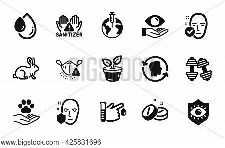 Vector Set Of Pandemic Vaccine, Blood Donation And Dumbbells Icons Simple Set. Face Id, Health Skin