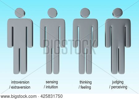 3d Illustration Of Four Human Silhouettes Representing Four Pairs Of Personality Types.