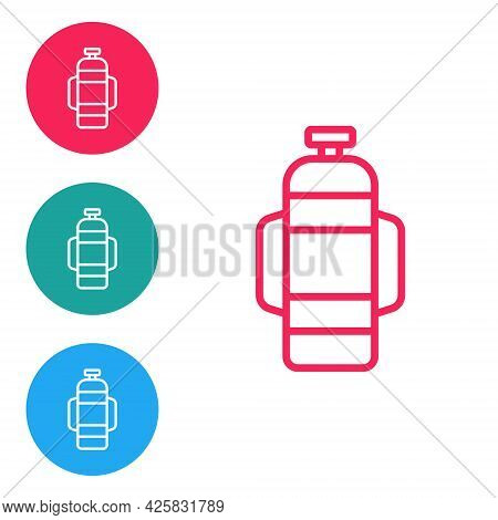 Red Line Aqualung Icon Isolated On White Background. Oxygen Tank For Diver. Diving Equipment. Extrem