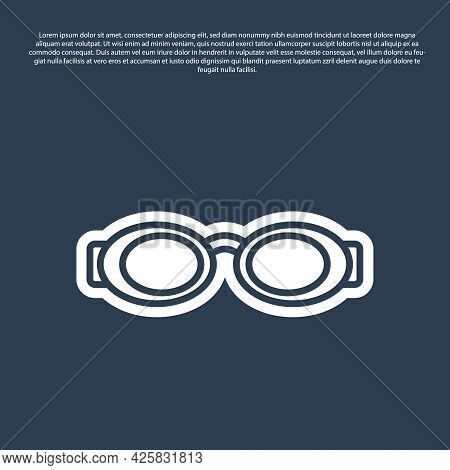 Blue Line Glasses For Swimming Icon Isolated On Blue Background. Swimming Goggles. Diving Underwater