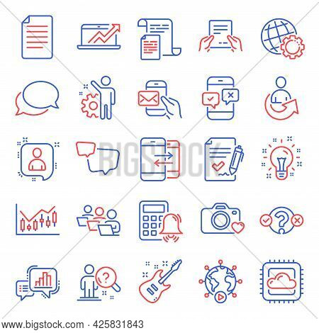 Education Icons Set. Included Icon As Phone Survey, Photo Camera, Teamwork Signs. Calculator Alarm,