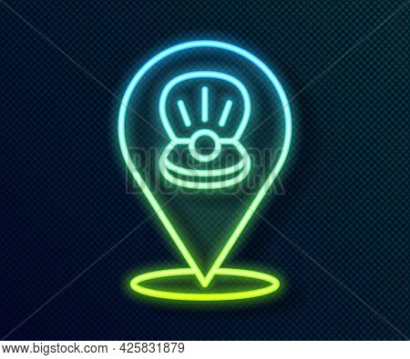 Glowing Neon Line Scallop Sea Shell Icon Isolated On Black Background. Seashell Sign. Vector